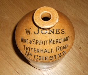Glazed Stoneware Bottle - The 'Jones' Family were an integral part of Tattenhall life, their businesses being located at the Aldersey Arms Hotel and at Tattenhall Road Coal Wharf