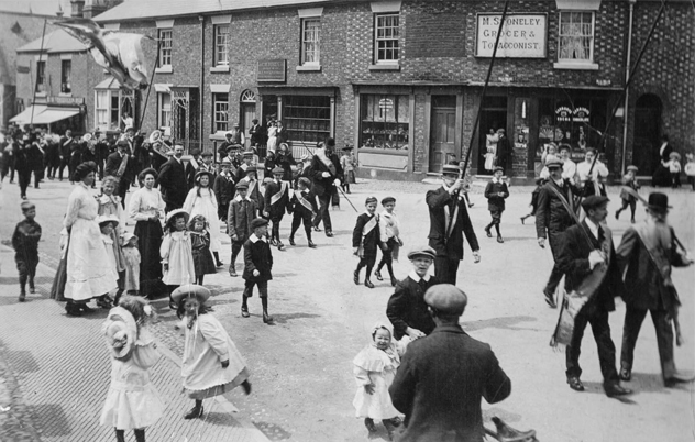 Oddfellows Procession in centre of Tattenhall
