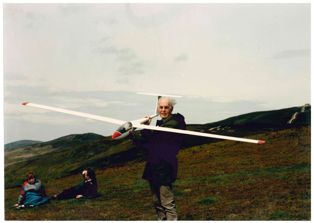 Donald Good with 'Glider' at Moel Famau. He was Treasurer of the 'Clwyd Soaring Association' for 27 years.