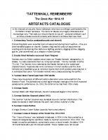 Artefacts Catalogue